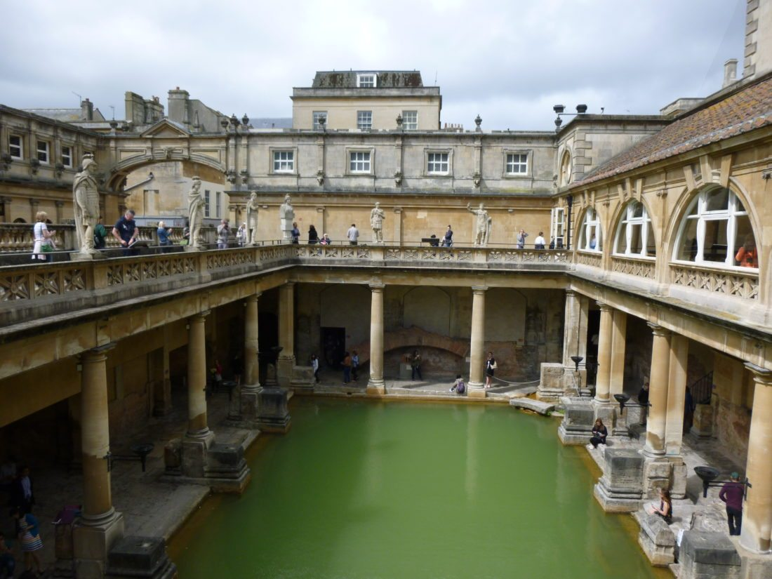 Top photo, tourists from around the world flock to the nearly 2,000-year-old Roman Baths in Bath, England. Ironically, the water is unsafe to touch now, but visitors can see the remaining underground rooms of the historic baths.