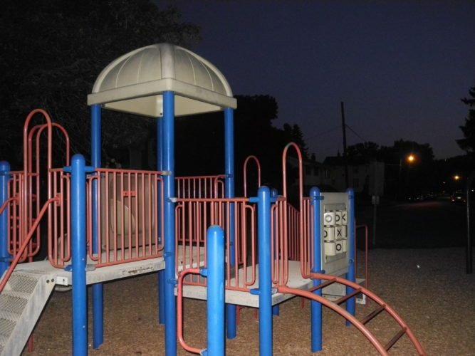 Photo by Ian Hicks Night falls over the playground at Belle Isle Park on Wheeling Island. The city's curfew for minors is 10 p.m. Sunday through Thursday and 11 p.m. Friday and Saturday.