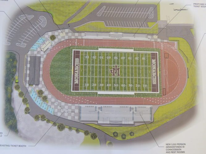 Photo by Drew Parker  Plans show the design concept for the proposed, $9 million new Monarch Stadium which Marshall County school officials hope to complete by the fall of 2018.