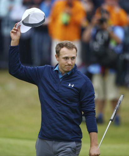Jordan Spieth of the United States celebrates winning the British Open Golf Championships at Royal Birkdale, Southport, England, Sunday July 23, 2017. (AP Photo/Dave Thompson)