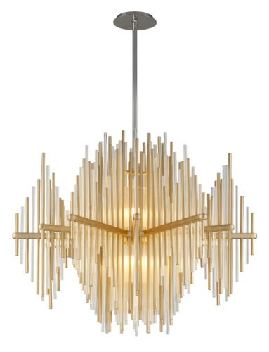 Above, Corbett     Lighting's Theory    ceiling fixture is an ode to mid-century Italian design, with horizontal spokes alternating clear glass and gold-leaf iron rods.