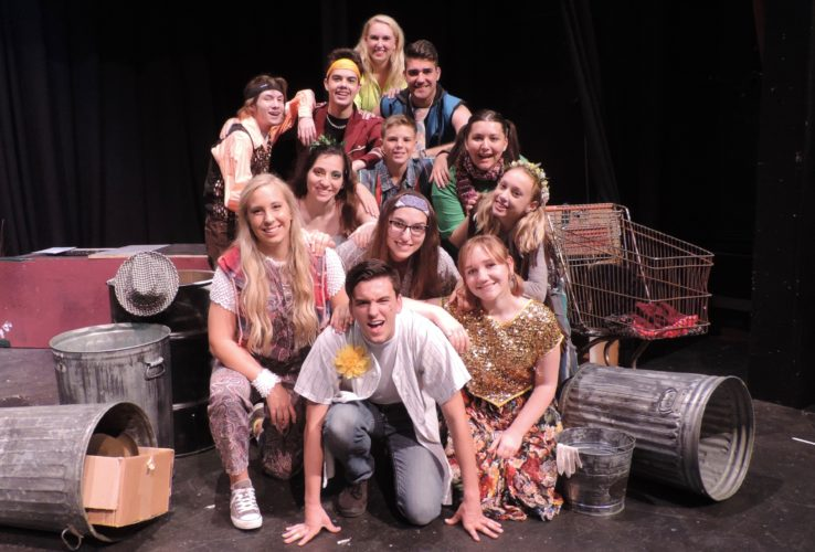 "The cast of ""Godspell"" performs ""Light of the World"" as they rehearse for their upcoming       production. Front, are Woody Pond and  Veda Wheeler. Second row, from left: Betsy Brossman, Joana Tsuhlares, Stephanie Ebarb. Third row: Megan Chacalos, Ben Ashmore, Josie Jarrett. Back row: David Gaudio, Maguire Glass, Lexie Kosanovic and Ryan Bartsch"