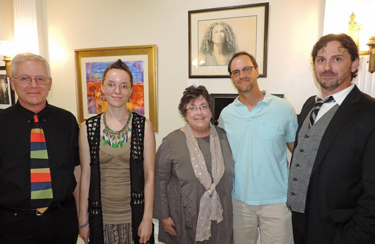 """Shown at the opening of the """"Crosscurrents"""" exhibit at Stifel Fine Arts Center are, from left, juror Thomas Wharton, artists Monica Mull, Cheryl       Harshman and Brian Fencl, and Stifel curator Michael       McKowen.  Photo Provided"""