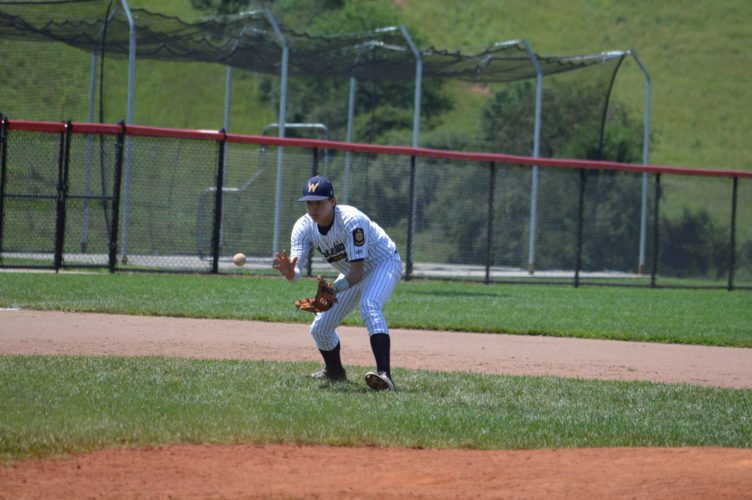 Photo by Cody Tomer Wheeling's Butter Murray concentrates on a ground ball to third.