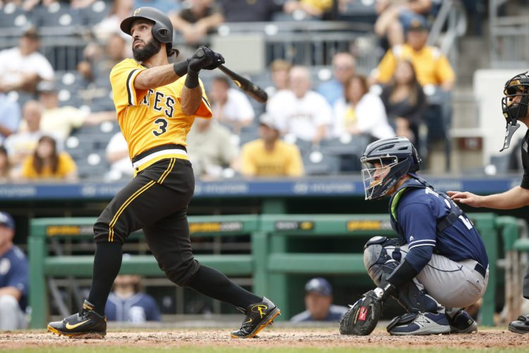 Pittsburgh Pirates first baseman Sean Rodriguez watches the ball after hitting the game-winning walk-off solo home run in the twelfth inning of a baseball game against the San Diego Padres in Pittsburgh, Sunday, Aug. 6, 2017. (AP Photo/Jared Wickerham)