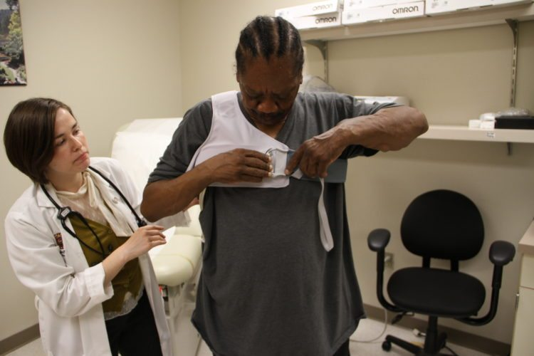 Kenny McIntyre is fitted for a vest designed for heart failure patients that he wears for 90 seconds each day so it can monitor the amount of fluid buildup in his lungs. That information is sent to his cardiologist using secure cloud technology, allowing the doctor to track his condition and adjust his medications, if necessary. Photo Provided