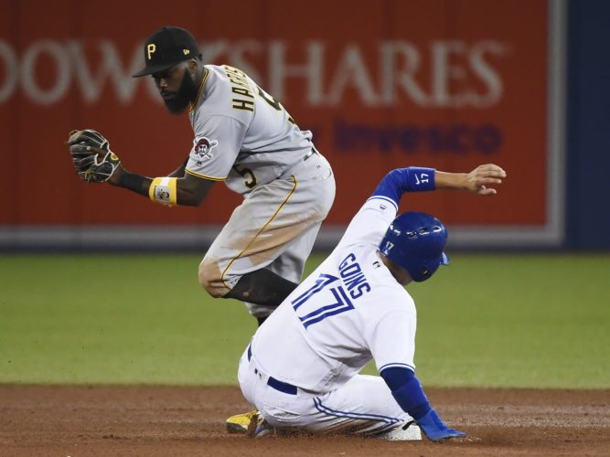 Pittsburgh Pirates second baseman Josh Harrison (5) forces out Toronto Blue Jays' Ryan Goins (17) at second base during the seventh inning of a baseball game Friday, Aug. 11, 2017, in Toronto. (Nathan Denette/The Canadian Press via AP)