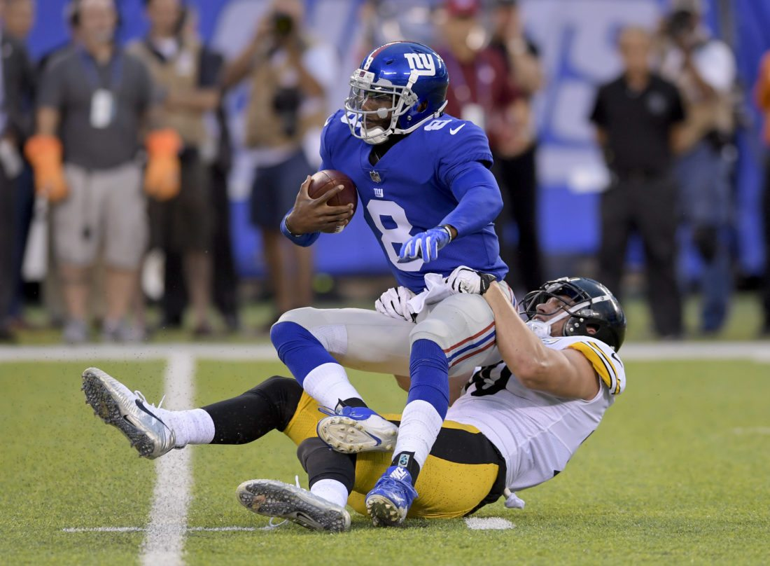 New York Giants quarterback Josh Johnson (8) is sacked by Pittsburgh Steelers linebacker T.J. Watt (90) during the first quarter of a preseason NFL football game, Friday, Aug. 11, 2017, in East Rutherford, N.J. (AP Photo/Bill Kostroun)
