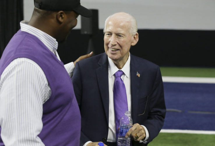 Kansas State head football coach Bill Snyder, right, visits with former player Victor Mann during the Big 12 NCAA college football media day in Frisco, Texas, Tuesday, July 18, 2017. (AP Photo/LM Otero)