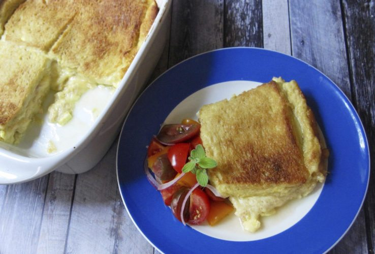 This cheese sandwich souffle in New York is from a recipe by Sara Moulton. (Sara Moulton via AP)