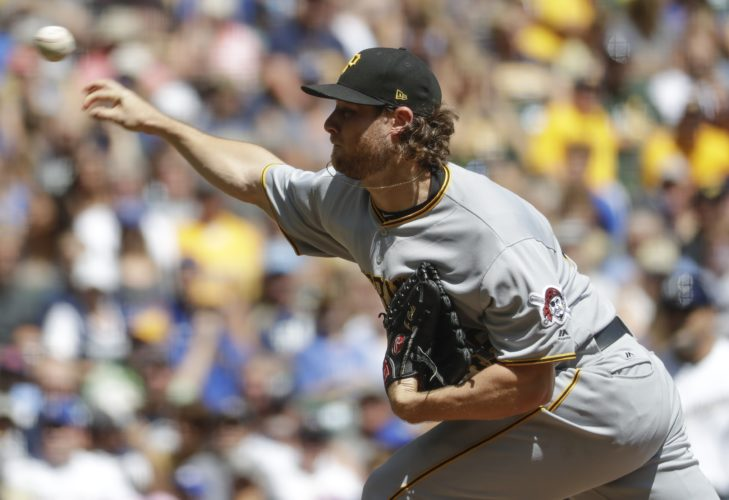 Pittsburgh Pirates starting pitcher Gerrit Cole throws during the first inning of a baseball game against the Milwaukee Brewers Wednesday, Aug. 16, 2017, in Milwaukee. (AP Photo/Morry Gash)