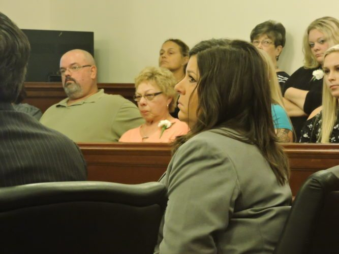 Photo by Robert A. DeFrank Tonya Ann Morehead is sentenced Friday in Belmont County Common Pleas Court.