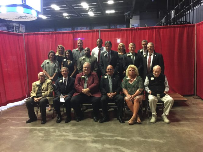 Photo by Kyle Lutz. The members of the 2017 OVAC Hall of Fame Class pose for a photo before the induction ceremony. Front row, from left, is Butch Joseph, Ross Stoltz, Jeff Harrison, Dave Caldwell, Vicki Leggett (accepting for Terry Leggett) and Bill Gompers. Middle row, is Lisa Glieber (accepting for Tom Franckhauser), Angela Hearst (accepting for William Hearst), Jarrett Alford (accepting for Roger Alford), Gary Repella, Chris Jones and Scot Maffe. Back row, is Jami Bendle, Mike Snively, Jose Davis (accepting for Nate Davis), April Rotilio and Roger Sowers II (accepting for Roger Sowers).