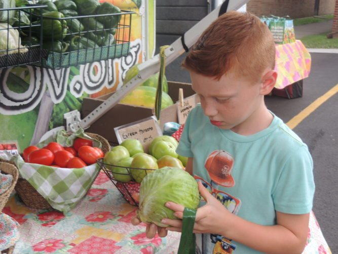 Photo by Drew Parker Washington Lands Elementary School student Caysen Morris picks produce from a Grow Ohio Valley pop-up market in Glen Dale.