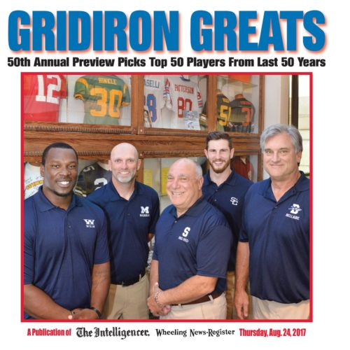 These five men represent each decade of Ohio Valley gridiron greats to mark The Intelligencer and Wheeling News-Register's 50th football preview edition. From left are Quincy Wilson, Weir High; Mark Cisar, Magnolia High; Reno Saccoccia, Steubenville High; Dan Monteroso, St. Clairsville; and Lance Mehl, Bellaire High.
