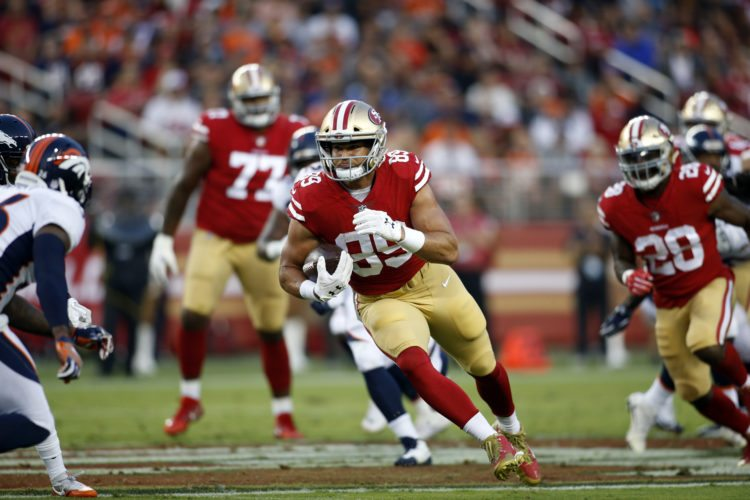 San Francisco 49ers tight end Vance McDonald (89) runs against the Denver Broncos during the first half of a preseason NFL football game Saturday, Aug. 19, 2017, in Santa Clara, Calif. (AP Photo/D. Ross Cameron)