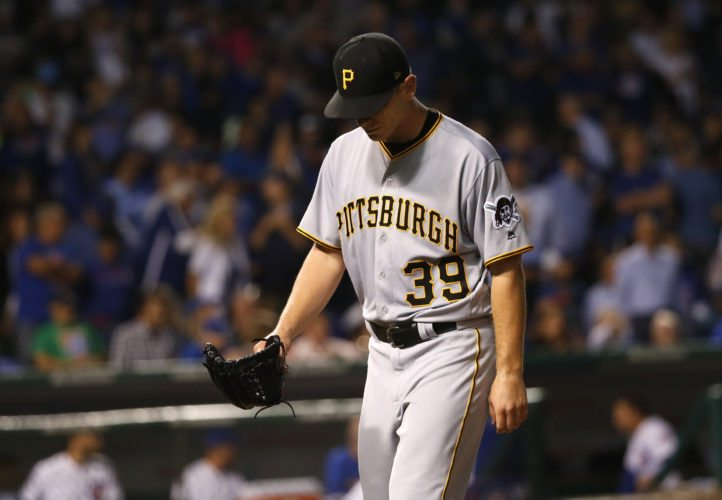 Pittsburgh Pirates starting pitcher Chad Kuhl leaves the baseball game after giving up two runs to the Chicago Cubs during the sixth inning of a baseball game Tuesday, Aug. 29, 2017, in Chicago. (AP Photo/Charles Rex Arbogast)
