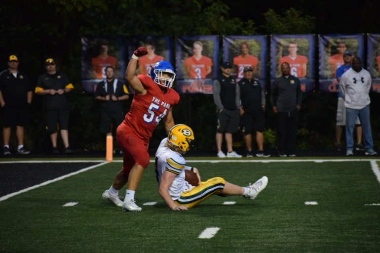 Photo by Scott McCloskey Dylan Wood and the Wheeling Park defense will need to play disciplined Friday against the run-heavy attack of Bridgeport.