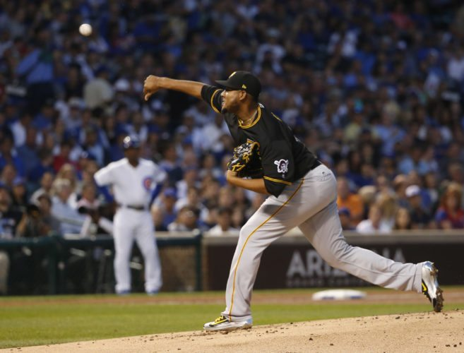 Pittsburgh Pirates starting pitcher Ivan Nova delivers during the first inning of the team's baseball game against the Chicago Cubs on Wednesday, Aug. 30, 2017, in Chicago. (AP Photo/Charles Rex Arbogast)
