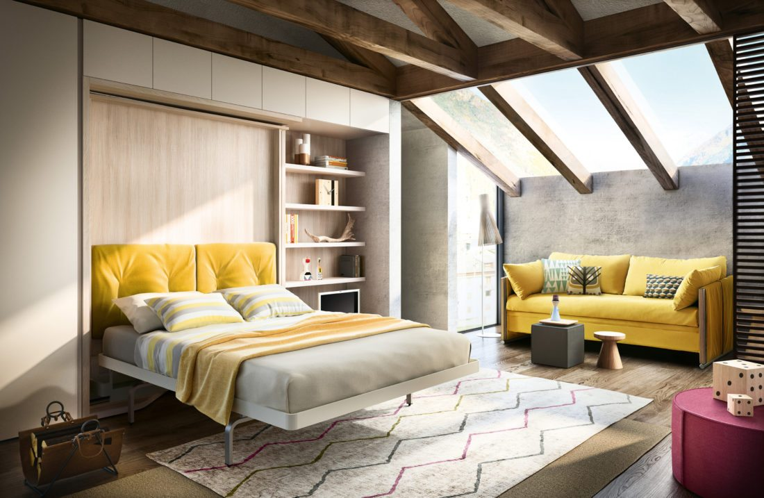 This 2017 photo provided by Resource Furniture shows the LGM Tavolo, designed and made in Italy by Clei, with bed in use. LGM Tavolo is a desk, queen size bed and shelving unit all in one, offering 35 linear feet of shelving and a 5-foot fold-down table. The shelving rotates to expose a queen size wall bed and side tables. (Clei, s.r.l./Resource Furniture via AP)