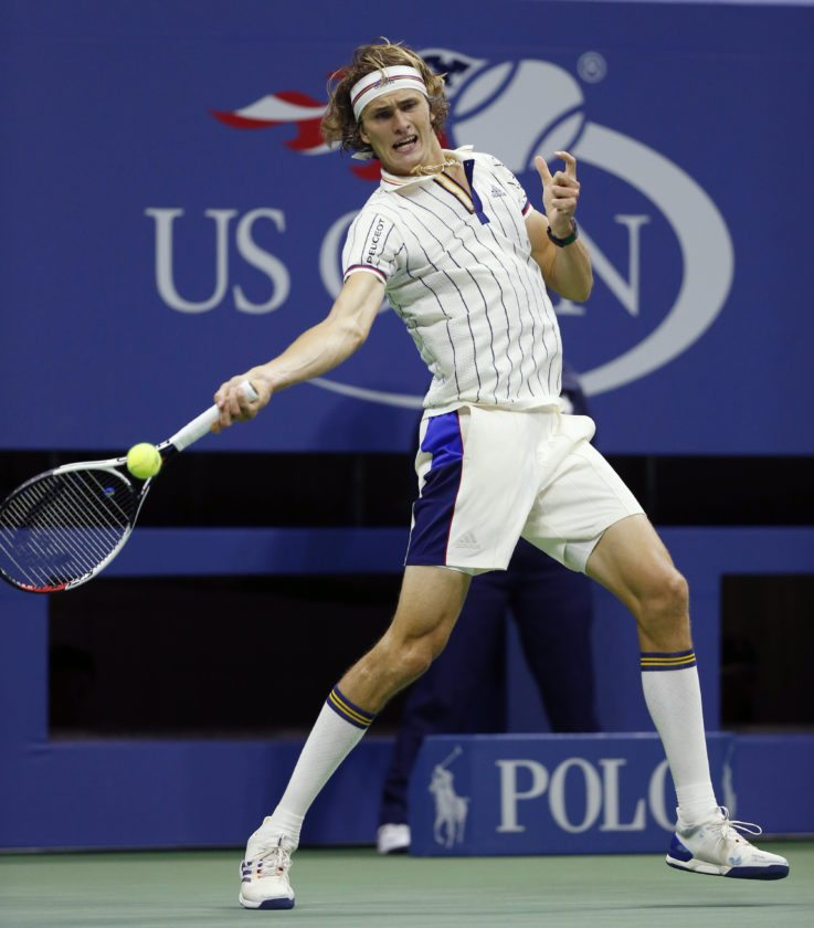 Alexander Zverev of Germany returns in the second set of his opening round match against Darian King of Barbados at the U.S. Open tennis tournament in New York, Tuesday. (AP Photo/Kathy Willens)
