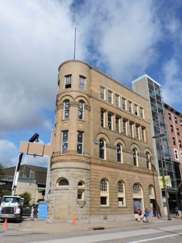 Photo by Casey Junkins The Flatiron Building at 1507 Main St. in downtown Wheeling will soon feature a coffee shop on the first two floors, while work on loft apartments for the upper floors continues, according to owner Kevin Duffin.