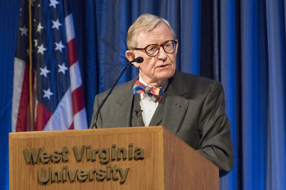 """Photo Provided West Virginia University President E. Gordon Gee delivers his """"State of the University"""" address to the school's faculty senate on Monday."""