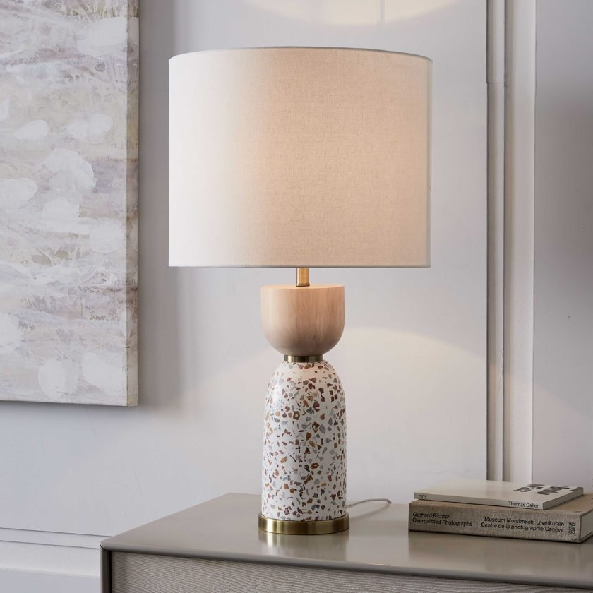 This undated photo provided by West Elm shows their Roar & Rabbit's terrazzo table lamp, which adds a dash of this newly-trending material without the cost and commitment of a large-scale project. (West Elm via AP)
