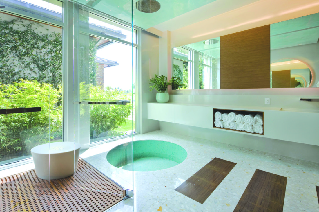 This undated photo provided by Designer Michael Wolk, shows how Wolk used terrazzo in this south Florida residential project, creating a neo-modern, Zen-like retreat. The material is favored by many architects and designers for its warmth, elegance and character. (Dan Forer/Michael Wolk via AP)