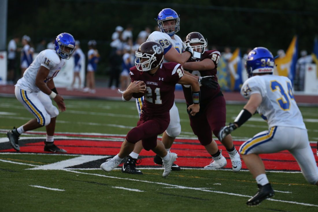 Photo by Alex Kozlowski Dawson Wear (21) and the Wheeling Central Maroon Knights look to snap their two-game losing skid when they welcome rival Williamstown to Bishop Schmitt Field.