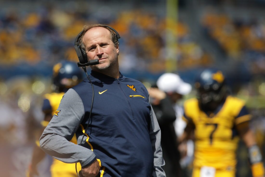 West Virginia head coach Dana Holgorsen during the first half/second half of an NCAA college football game, Saturday, Sept. 9, 2017, in Morgantown, W.Va. (AP Photo/Raymond Thompson)