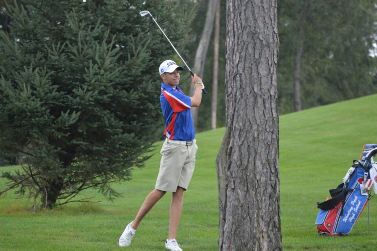 Photo by  Cody Tomer Wheeling Park's Jacob Nickell  delivers a shot during the 5A OVAC  championship on Thursday at the Jones Course at Oglebay.