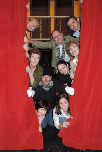 "Photo Provided ""Noises Off"" cast members, clockwise from top left, Brendan Sheehan, Vincent Marshall, Eric T. Dutton, Vera Barton-Maxwell, Josh DeBeni, Meghan Ross, Kim Brown, Frank Wilson and Dee Gregg prepare for their upcoming performances at the Towngate Theatre in Wheeling."
