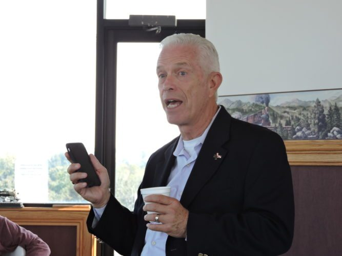 Photo by Janell Hunter U.S. Rep. Bill Johnson, R-Ohio, speaks to a group of local officials Tuesday during a roundtable discussion on expanding broadband access to rural areas at the Monroe County Chamber of Commerce.