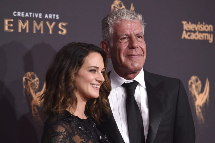 Asia Argento, left, and Anthony Bourdain arrives at night one of the Creative Arts Emmy Awards at the Microsoft Theater on Saturday, Sept. 9, 2017, in Los Angeles. (Photo by Richard Shotwell/Invision/AP)