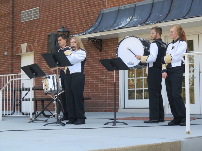 Photo by Joselyn King West Liberty University students who were members of the school's former band perform following Thursday's announcement the marching band will return next fall. WLU eliminated its band program in late 2015.