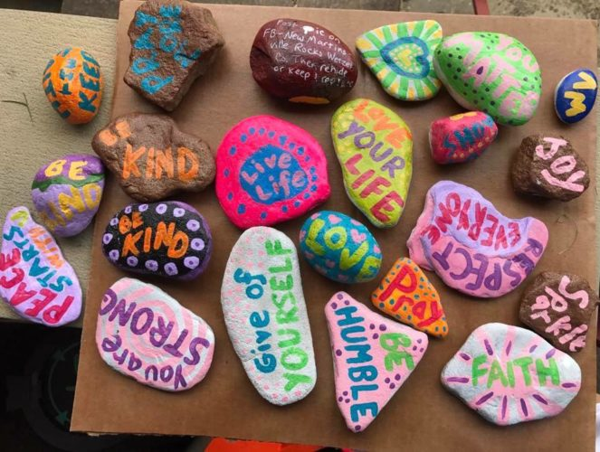 "Amy Witschey of New Martinsville painted this crop of rocks that she and her children       hid. ""I do it to spread love and        positivity,"" she said."
