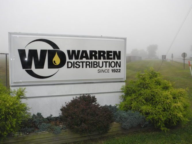 Photo by Casey Junkins The sign at the entrance to the Shadyside plant now recognizes it as part of the Warren Distribution network.