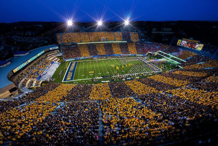 Photo Provided Milan Puskar Stadium in Morgantown is a sea of old gold and blue during a West Virginia University Mountaineers home football game.