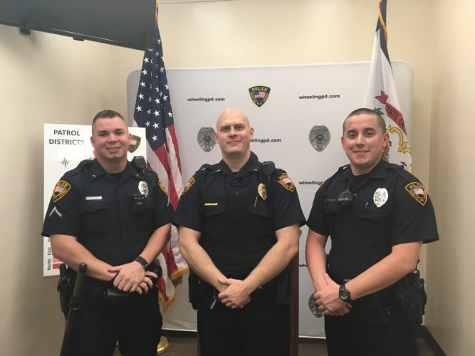 Photo by Jessica Broverman From left, Wheeling police Officers Ryan Moore Kevin Kettler and Jason Hupp are among the department's officers who have completed Crisis Intervention Team training.