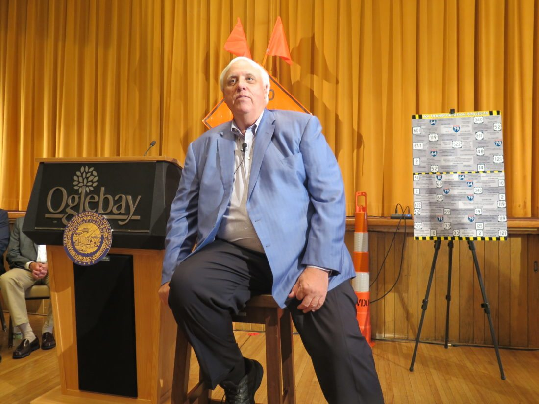 Photo by Joselyn King West Virginia Gov. Jim Justice visits Oglebay Park in Wheeling last week for a town hall meeting.