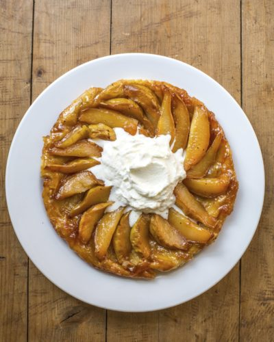 This Aug. 16, 2017 photo shows a pear tarte tatin in New York. This dish is from a recipe by Katie Workman. (Sara E Crowder/Katie Workman via AP)