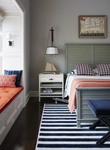 This kid's bedroom was designed by Andrew Howard. Howard suggests parents choose timeless, classic wall colors and furniture for a child's bedroom so that the room doesn't require redecorating as the child grows and is easily convertible into a guest room in the future. (Lucas Allen/Andrew Howard via AP)