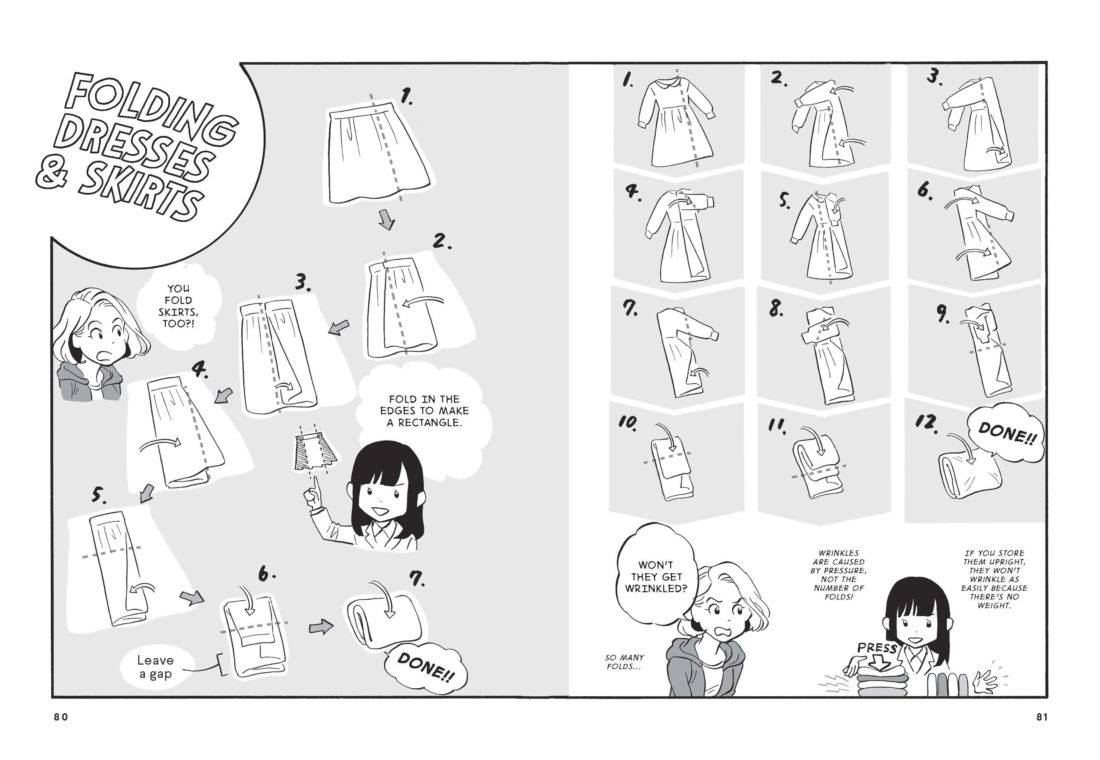 "This undated photo provided by Ten Speed Press shows illustrations inside the book ""the life-changing manga of tidying up: a magical story,"" by Marie Kondo and illustrated by Yuko Uramoto. (Ten Speed Press via AP)"