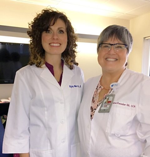 Photo Provided Ohio Valley Medical Center registered nurses Kyla Morris, left,  and Jane Kessler are breast cancer survivors.