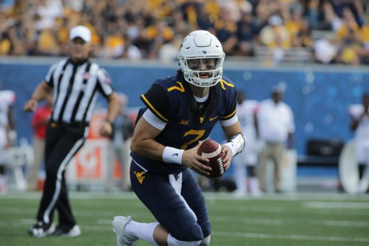 West Virginia quarterback Will Grier (7)during the first half/second half of an NCAA college football game, Saturday, Sept. 16, 2017, in Morgantown, W.Va. (AP Photo/Raymond Thompson)