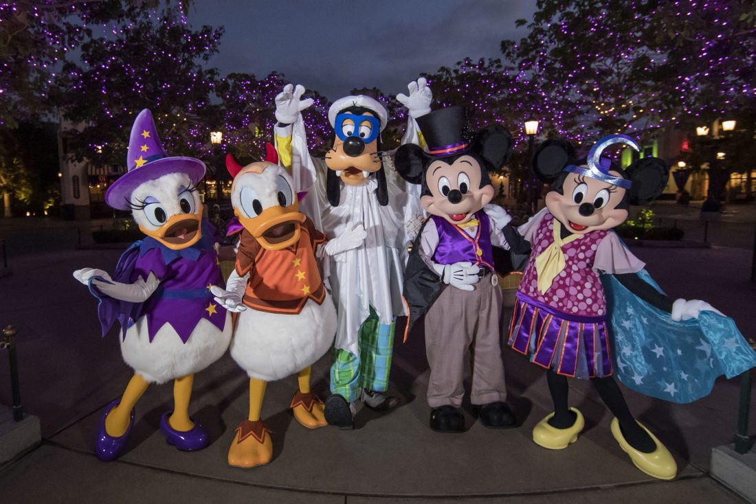 "Mickey Mouse and other Disney characters ae dressed up for Halloween on Buena Vista Street at Disney California Adventure park in Anaheim, Calif. Also new this year at the park, Cars        Land is               decorated            for a                ""Haul-o-Ween"" celebration.   AP Photo"
