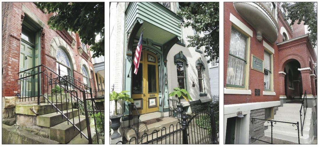 Photos Provided From left: the Joseph Hedges House, 734 Main St., is half of a twin townhouse built circa 1894; the William Goering House, 701 Main St., is the only true Second Empire structure in the North Wheeling Historic District; the George W. Eckhart House, 810 Main St., constructed in 1892, is a fine example of a Queen Anne building.