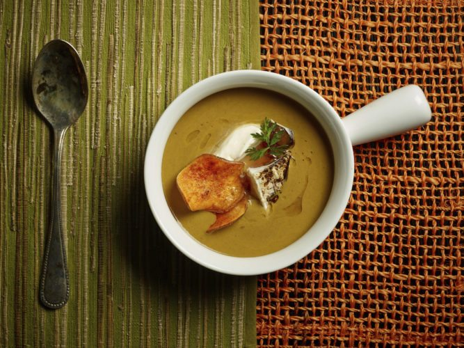 This Sept. 8, 2017 photo provided by The Culinary Institute of America shows autumn sweet potato and mushroom soup in Hyde Park, N.Y. This dish is from a recipe by the CIA. (Phil Mansfield/The Culinary Institute of America via AP)