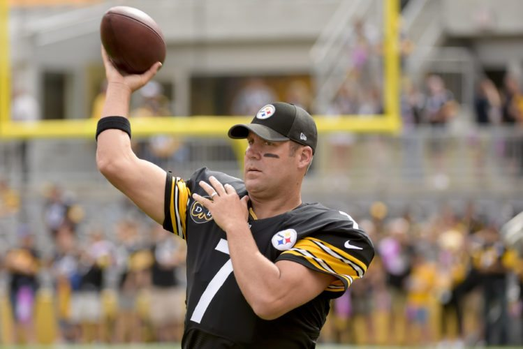 Pittsburgh Steelers quarterback Ben Roethlisberger (7) warms up before of an NFL football game against the Jacksonville Jaguars, Sunday, Oct. 8, 2017, in Pittsburgh. (AP Photo/Fred Vuich)